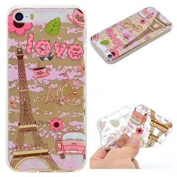 Love Eiffel Tower Super Clear Soft TPU Back Cover for iPhone SE 5s 5