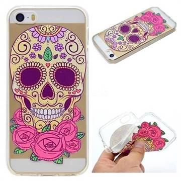 Skeleton Flower Super Clear Soft TPU Back Cover for iPhone SE 5s 5