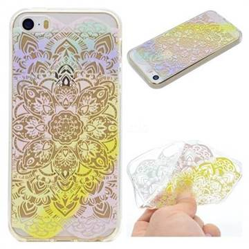 Mandala Rainbow Flower Super Clear Soft TPU Back Cover for iPhone SE 5s 5