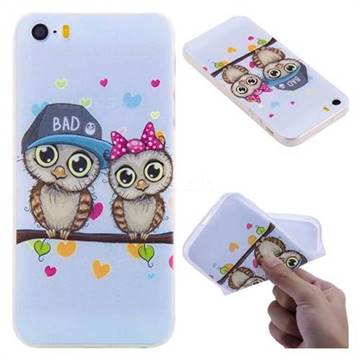 Couple Owls 3D Relief Matte Soft TPU Back Cover for iPhone SE 5s 5