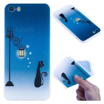 Street Light Cat 3D Relief Matte Soft TPU Back Cover for iPhone SE 5s 5
