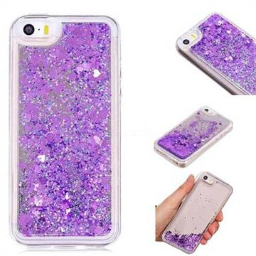 Glitter Sand Mirror Quicksand Dynamic Liquid Star TPU Case for iPhone SE 5s 5 - Purple