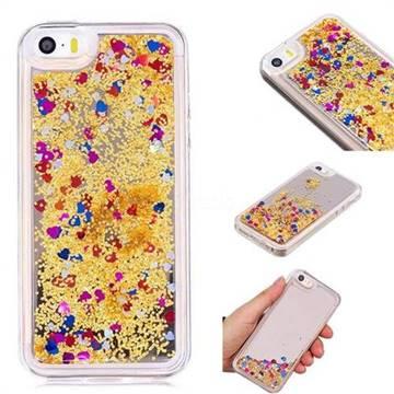 Glitter Sand Mirror Quicksand Dynamic Liquid Star TPU Case for iPhone SE 5s 5 - Yellow
