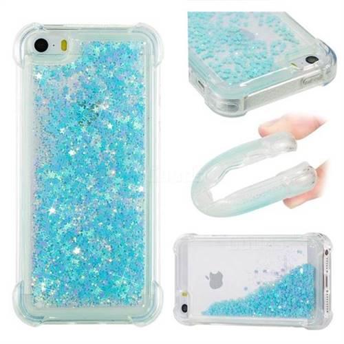 Dynamic Liquid Glitter Sand Quicksand TPU Case for iPhone SE 5s 5 - Silver Blue Star