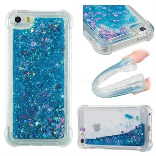 Dynamic Liquid Glitter Sand Quicksand TPU Case for iPhone SE 5s 5 - Blue Love Heart