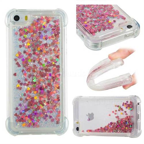 Dynamic Liquid Glitter Sand Quicksand TPU Case for iPhone SE 5s 5 - Rose Gold Love Heart
