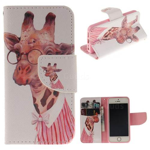 Pink Giraffe PU Leather Wallet Case for iPhone SE 5s 5