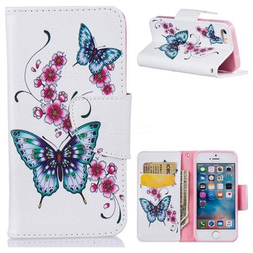 Peach Butterfly Leather Wallet Case for iPhone SE 5s 5