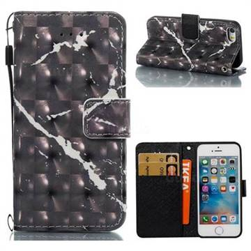 Black Marble 3D Painted Leather Wallet Case for iPhone SE 5s 5