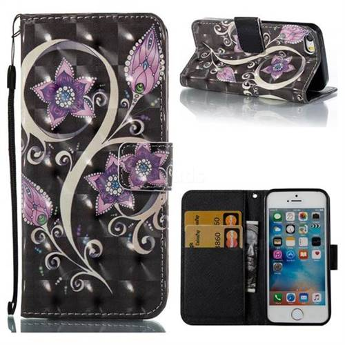 Peacock Flower 3D Painted Leather Wallet Case for iPhone SE 5s 5