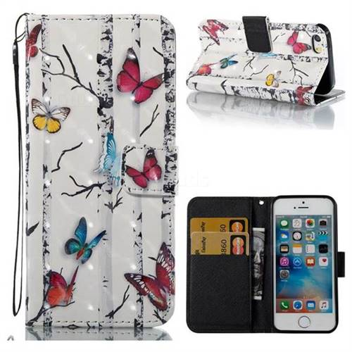 Colored Butterflies 3D Painted Leather Wallet Case for iPhone SE 5s 5