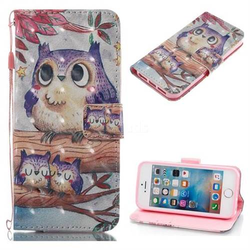 Purple Owl 3D Painted Leather Wallet Case for iPhone SE 5s 5
