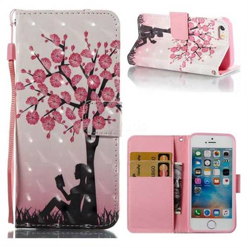 Plum Girl 3D Painted Leather Wallet Case for iPhone SE 5s 5