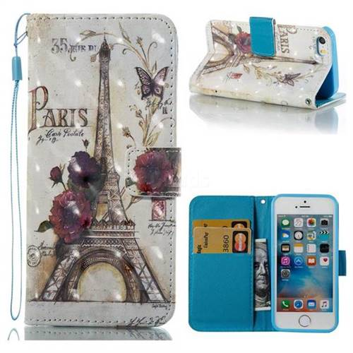 Flower Eiffel Tower 3D Painted Leather Wallet Case for iPhone SE 5s 5