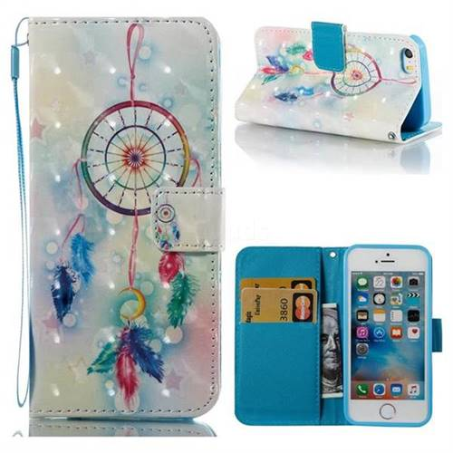 Feather Wind Chimes 3D Painted Leather Wallet Case for iPhone SE 5s 5