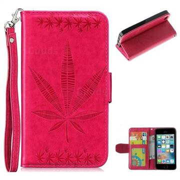 Intricate Embossing Maple Leather Wallet Case for iPhone SE 5s 5 - Rose