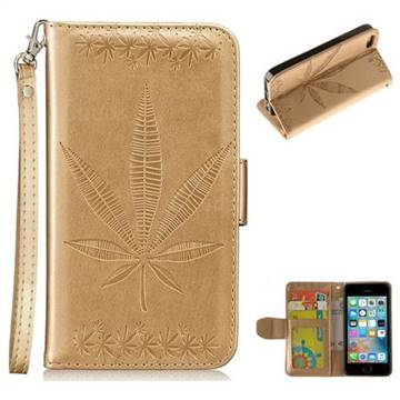 Intricate Embossing Maple Leather Wallet Case for iPhone SE 5s 5 - Champagne