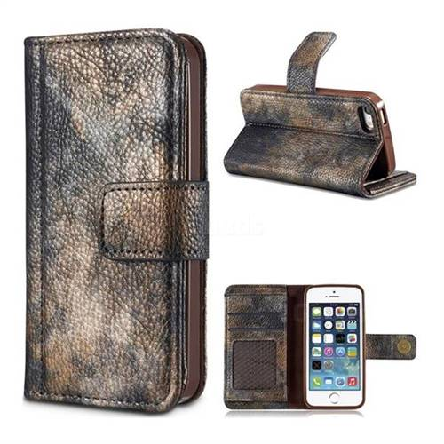 Luxury Retro Forest Series Leather Wallet Case for iPhone SE 5s 5 - Grey
