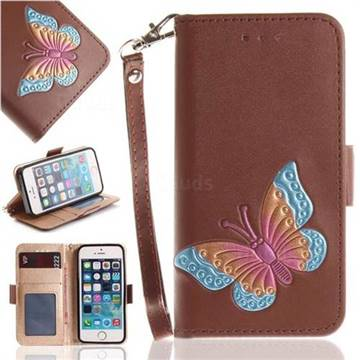 Imprint Embossing Butterfly Leather Wallet Case for iPhone SE 5s 5 - Brown