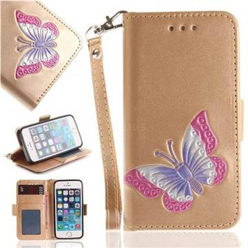 Imprint Embossing Butterfly Leather Wallet Case for iPhone SE 5s 5 - Golden