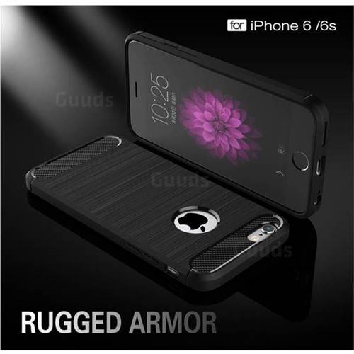 Luxury Carbon Fiber Brushed Wire Drawing Silicone TPU Back Cover for iPhone 6s 6 6G(4.7 inch) (Black)