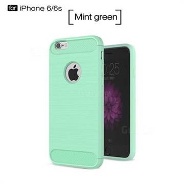 Luxury Carbon Fiber Brushed Wire Drawing Silicone TPU Back Cover for iPhone 6s 6 6G(4.7 inch) (Mint Green)