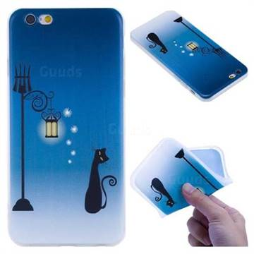 Street Light Cat 3D Relief Matte Soft TPU Back Cover for iPhone 6s 6 6G(4.7 inch)