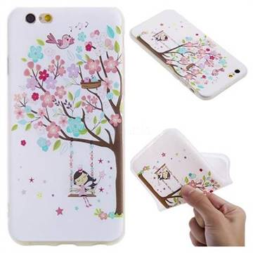 Tree and Girl 3D Relief Matte Soft TPU Back Cover for iPhone 6s 6 6G(4.7 inch)