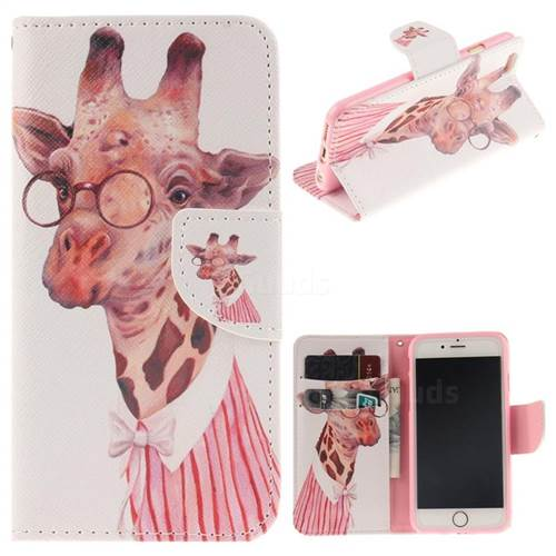 Pink Giraffe PU Leather Wallet Case for iPhone 6s 6 6G(4.7 inch)