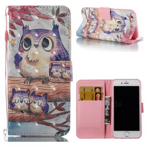 Purple Owl 3D Painted Leather Wallet Case for iPhone 6s 6 6G(4.7 inch)