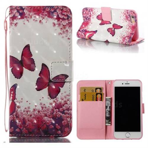 Rose Butterfly 3D Painted Leather Wallet Case for iPhone 6s 6 6G(4.7 inch)