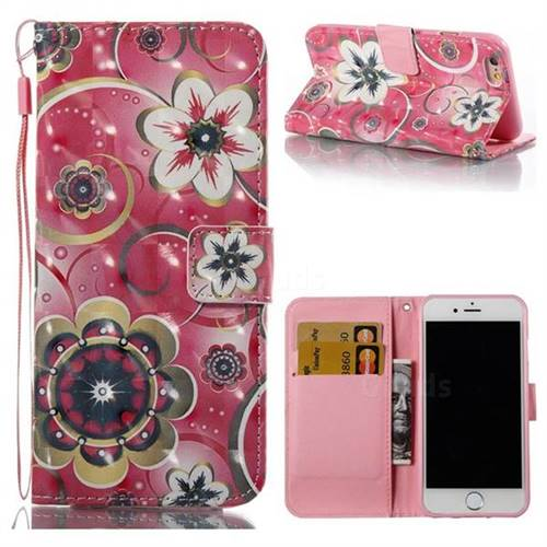 Tulip Flower 3D Painted Leather Wallet Case for iPhone 6s 6 6G(4.7 inch)