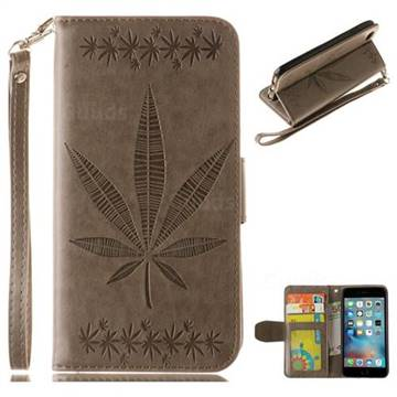 Intricate Embossing Maple Leather Wallet Case for iPhone 6s 6 6G(4.7 inch) - Gray