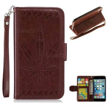 Intricate Embossing Maple Leather Wallet Case for iPhone 6s 6 6G(4.7 inch) - Brown