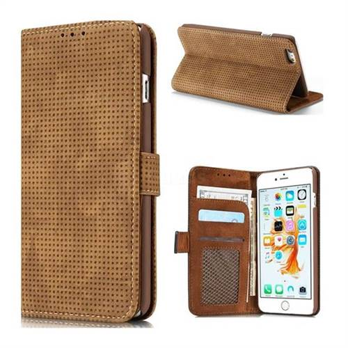 Luxury Vintage Mesh Monternet Leather Wallet Case for iPhone 6s 6 6G(4.7 inch) - Brown