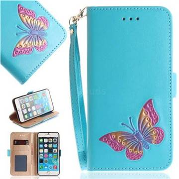 Imprint Embossing Butterfly Leather Wallet Case for iPhone 6s 6 6G(4.7 inch) - Sky Blue