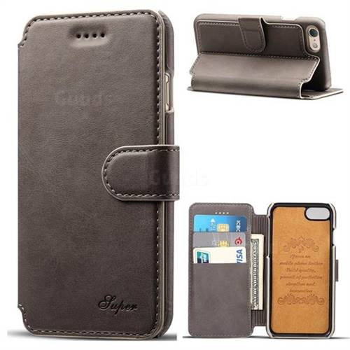 Suteni Calf Stripe Leather Wallet Flip Phone Case for iPhone 6s 6 6G(4.7 inch) - Gray