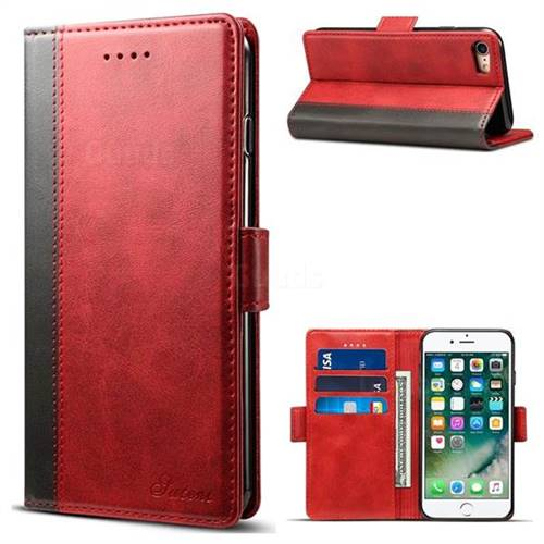 Suteni Calf Stripe Dual Color Leather Wallet Flip Case for iPhone 6s 6 6G(4.7 inch) - Red