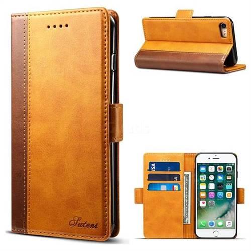 Suteni Calf Stripe Dual Color Leather Wallet Flip Case for iPhone 6s 6 6G(4.7 inch) - Khaki