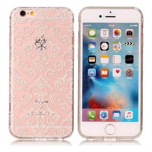 White Lace Flowers Super Clear Soft TPU Back Cover for iPhone 6s Plus / 6 Plus 6P(5.5 inch)