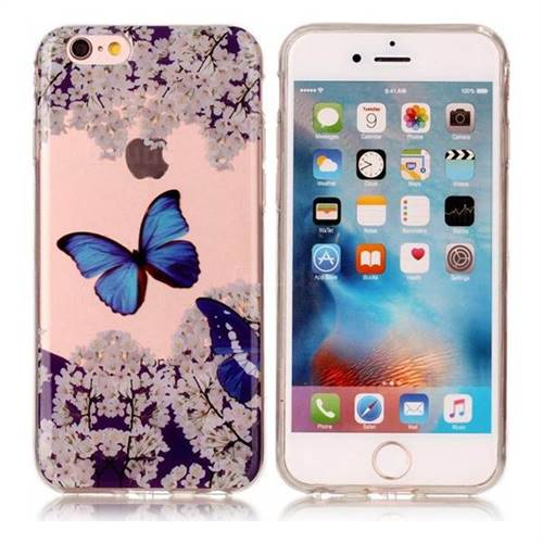 Blue Butterfly Flower Super Clear Soft TPU Back Cover for iPhone 6s Plus / 6 Plus 6P(5.5 inch)