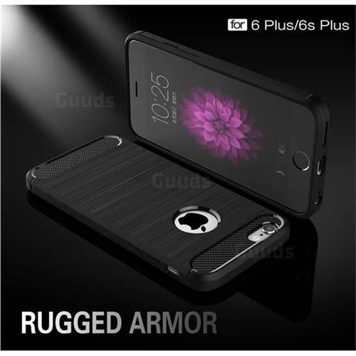 Luxury Carbon Fiber Brushed Wire Drawing Silicone TPU Back Cover for iPhone 6s Plus / 6 Plus 6P(5.5 inch) (Black)