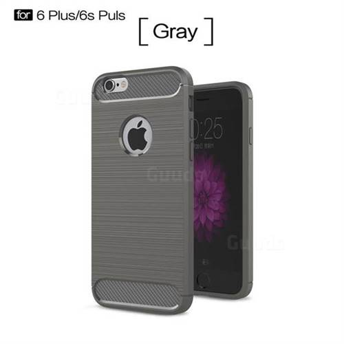 Luxury Carbon Fiber Brushed Wire Drawing Silicone TPU Back Cover for iPhone 6s Plus / 6 Plus 6P(5.5 inch) (Gray)