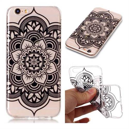 Black Mandala Flower Super Clear Soft TPU Back Cover for iPhone 6s Plus / 6 Plus 6P(5.5 inch)