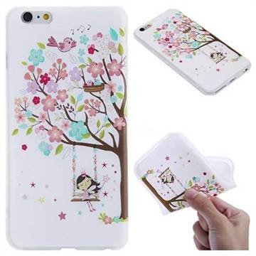 Tree and Girl 3D Relief Matte Soft TPU Back Cover for iPhone 6s Plus / 6 Plus 6P(5.5 inch)