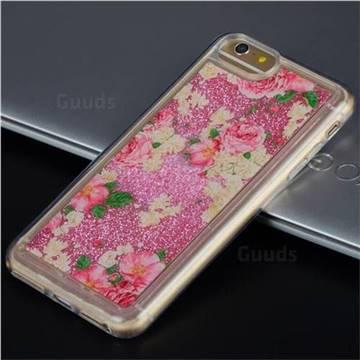 Rose Flower Glassy Glitter Quicksand Dynamic Liquid Soft Phone Case for iPhone 6s Plus / 6 Plus 6P(5.5 inch)