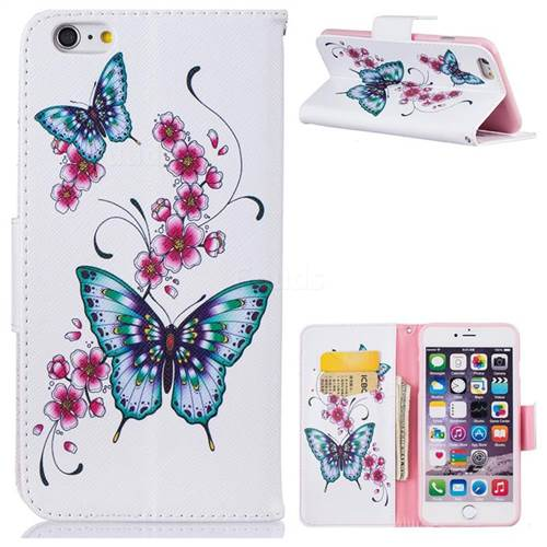 Peach Butterfly Leather Wallet Case for iPhone 6s Plus / 6 Plus 6P(5.5 inch)