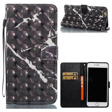 Black Marble 3D Painted Leather Wallet Case for iPhone 6s Plus / 6 Plus 6P(5.5 inch)