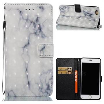 White Gray Marble 3D Painted Leather Wallet Case for iPhone 6s Plus / 6 Plus 6P(5.5 inch)