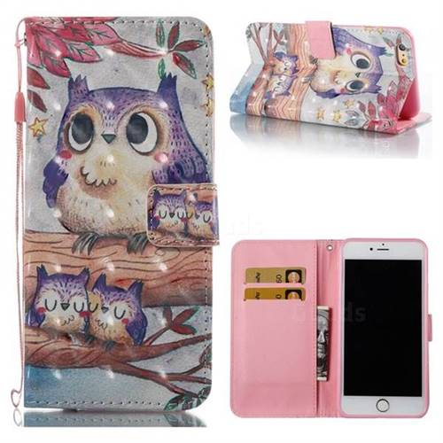 Purple Owl 3D Painted Leather Wallet Case for iPhone 6s Plus / 6 Plus 6P(5.5 inch)